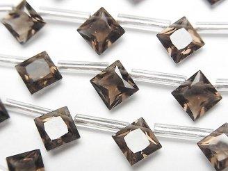 天然石卸 1連1,280円!宝石質スモーキークォーツAAA ダイヤ プリンセスカット8×8mm 1連(10粒)