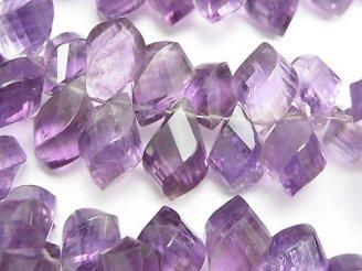 天然石卸 宝石質ライトカラーアメジストAAA- 大粒ドロップ4面ツイスト ブリオレットカット 半連/1連(約18cm)