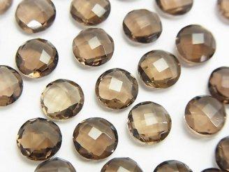 天然石卸 宝石質スモーキークォーツAAA 穴なしコインクッションカット8×8×4mm 7粒880円!