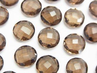 天然石卸 宝石質スモーキークォーツAAA 穴なしコインクッションカット10×10×4mm 5粒980円!