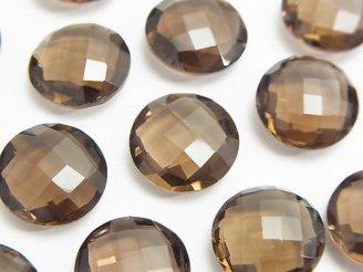 天然石卸 宝石質スモーキークォーツAAA 穴なしコインクッションカット14×14×6mm 3粒1,280円!