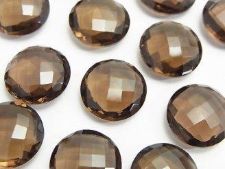 天然石卸 宝石質スモーキークォーツAAA 穴なしコインクッションカット16×16×7mm 3粒1,780円!