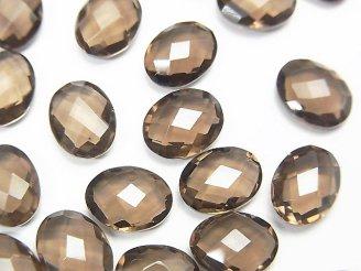 天然石卸 宝石質スモーキークォーツAAA 穴なしオーバルクッションカット9×7×4mm 7粒780円!