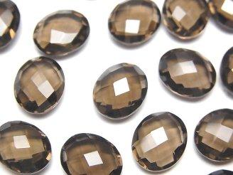 天然石卸 宝石質スモーキークォーツAAA 穴なしオーバルクッションカット12×10×5mm 5粒1,180円!