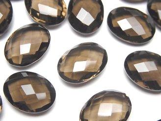 天然石卸 宝石質スモーキークォーツAAA 穴なしオーバルクッションカット16×12×6mm 4粒1,580円!