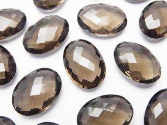 天然石卸 宝石質スモーキークォーツAAA 穴なしオーバルクッションカット18×13×6mm 3粒1,580円!