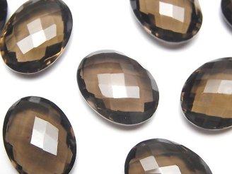 天然石卸 宝石質スモーキークォーツAAA 穴なしオーバルクッションカット20×15×7mm 3粒1,980円!