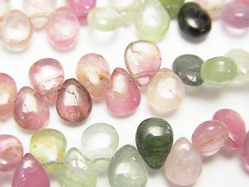 宝石質マルチカラートルマリンAA++ ペアシェイプ〜マロン(プレーン) 半連/1連(約18cm)