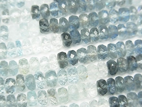 【動画】宝石質サンタマリア アクアマリンAAA ボタンカット カラーグラデーション 1/4連〜1連(約42cm)