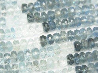 天然石卸 宝石質サンタマリア アクアマリンAAA ボタンカット カラーグラデーション 1/4連〜1連(約42cm)