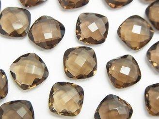 天然石卸 宝石質スモーキークォーツAAA 穴なしスクエアクッションカット10×10×5mm 4粒980円!