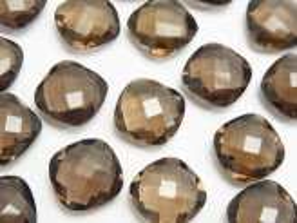 天然石卸 宝石質スモーキークォーツAAA 穴なしスクエアクッションカット12×12×5mm 4粒1,380円!