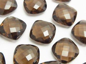 天然石卸 宝石質スモーキークォーツAAA 穴なしスクエアクッションカット14×14×5mm 3粒1,480円!