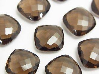 天然石卸 宝石質スモーキークォーツAAA 穴なしスクエアクッションカット16×16×6mm 3粒1,980円!