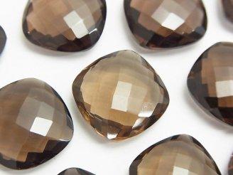 天然石卸 宝石質スモーキークォーツAAA 穴なしスクエアクッションカット18×18×6mm 3粒2,580円!