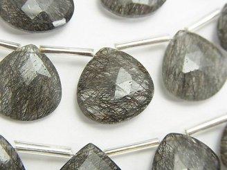 天然石卸 宝石質トルマリンクォーツAAA- 大粒マロン ブリオレットカット 半連/1連(約15cm)