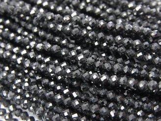 天然石卸 素晴らしい輝き!1連680円!ブラックトルマリンAAA- 極小ラウンドカット2mm 1連(約38cm)
