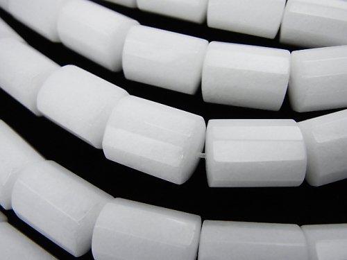 ホワイトジェード トライアングルチューブカット14×11×11mm 半連/1連(約37cm)