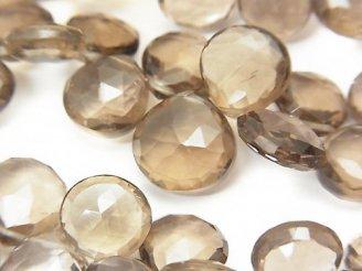 天然石卸 宝石質ライトカラースモーキークォーツAAA マロン ブリオレットカット 半連/1連(約17cm)