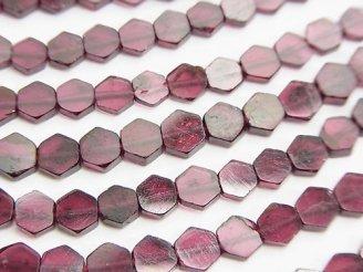 天然石卸 ◆SALE◆1連780円〜!ガーネットAA+ ヘキサゴン(六角形) 1連(約33cm)