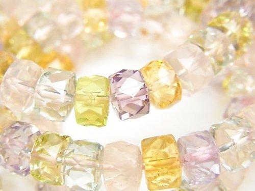 宝石質いろんな天然石AAA- ボタンカット8×8×5mm 1連(ブレス)
