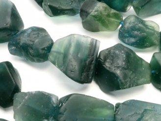 天然石卸 1連980円!ブルーグリーン フローライト 大粒ラフロックタンブル 1連(約37cm)