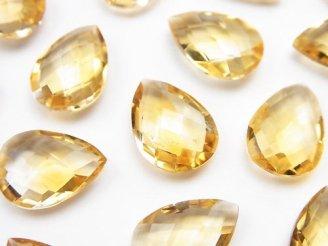 天然石卸 宝石質シトリンAAA 穴なしペアシェイプクッションカット14×10mm 3粒980円!