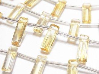 天然石卸 1連2,380円!宝石質シトリンAAA レクタングル ファセットカット15×5×4mm 1連(約11cm)