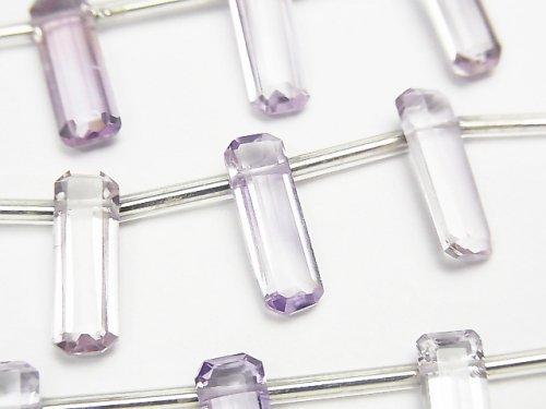【動画】宝石質ピンクアメジストAAA レクタングル ファセットカット15×5×4mm 1連(約12cm)