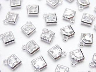 2個580円!Silver925 ダイヤモチーフ8×7×2.5mm チャーム(CZ付) 【ロジウム】 2個