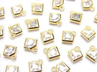 天然石卸 2個580円!Silver925 ダイヤモチーフ8×7×2.5mm チャーム(CZ付) 【18KGP】 2個