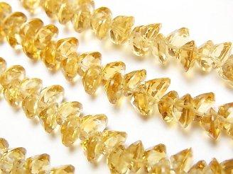 天然石卸 宝石質シトリンAAA ブリリアントカット6×6×4mm 1/4連〜1連(約25cm)