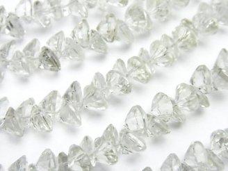 天然石卸 宝石質グリーンアメジストAAA ブリリアントカット6×6×4mm 1/4連〜1連(約22cm)