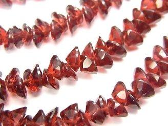 天然石卸 宝石質モザンビークガーネットAAA ブリリアントカット6×6×4mm 1/4連〜1連(約22cm)