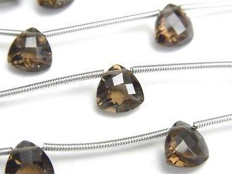 天然石卸 1連980円!宝石質スモーキークォーツAAA トライアングルファセットカット8×8×5mm 1連(5粒)