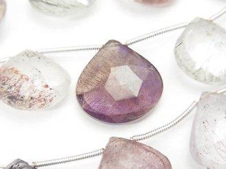 天然石卸 1連4,980円!宝石質エレスチャルクォーツAA++ マロン ブリオレットカット 【Lサイズ】 1連(9粒)