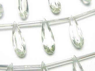 天然石卸 宝石質ブラジル産グリーンアメジストAAA 縦長ペアシェイプ ファセットカット20×6mm 半連/1連(8粒)