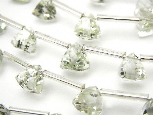 宝石質グリーンアメジストAAA 立体トライアングルカット8×8×8mm 1連(8粒)