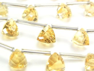 天然石卸 1連2,680円!宝石質シトリンAAA- 立体トライアングルカット8×8×8mm 1連(10粒)
