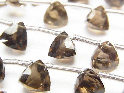 宝石質スモーキークォーツAAA 立体トライアングルカット8×8×8mm 1連(8粒)