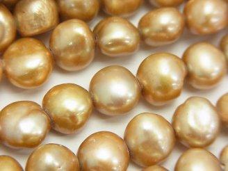 天然石卸 1連980円!淡水真珠AA+ バロック9〜10mm ゴールド 【1mm穴】 1連(約35cm)