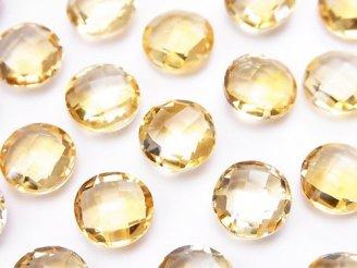 天然石卸 宝石質シトリンAAA 穴なしコインクッションカット10×10mm 3粒880円!