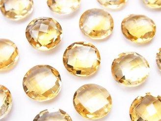 天然石卸 宝石質シトリンAAA 穴なしコインクッションカット11×11mm 3粒980円!