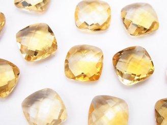 天然石卸 宝石質シトリンAAA 穴なしスクエアクッションカット11×11mm 3粒1,100円!