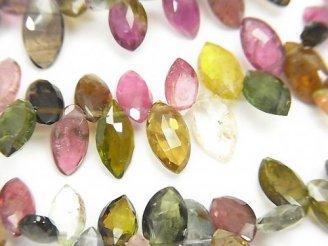 天然石卸 宝石質マルチカラートルマリンAA++ マーキス ブリオレットカット 半連/1連(約18cm)