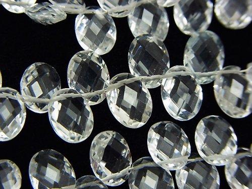 宝石質ホワイトトパーズAAA 横穴オーバルカット8×6×4mm 1/4連〜1連(約17cm)