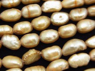天然石卸 1連580円!淡水真珠AA バロック7〜9mm ゴールド 【1mm穴】 1連(約35cm)