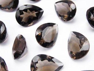 天然石卸 宝石質スモーキークォーツAAA 穴なしペアシェイプファセットカット16×12mm 4粒1,580円!