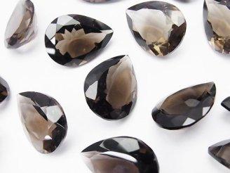 天然石卸 宝石質スモーキークォーツAAA 穴なしペアシェイプファセットカット20×15mm 3粒1,980円!