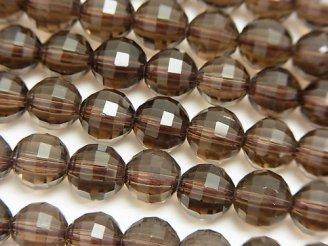 天然石卸 素晴らしい輝き!スモーキークォーツAAA+ ミラーラウンドカット8mm 「Special cut」 1/4連〜1連(約36cm)